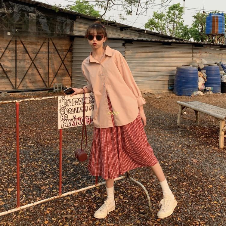 Set Áo Sơ Mi Tay Dài Cổ Bẻ + Chân Váy Lưng Cao Xếp Ly Xinh Xắn Cho Nữ