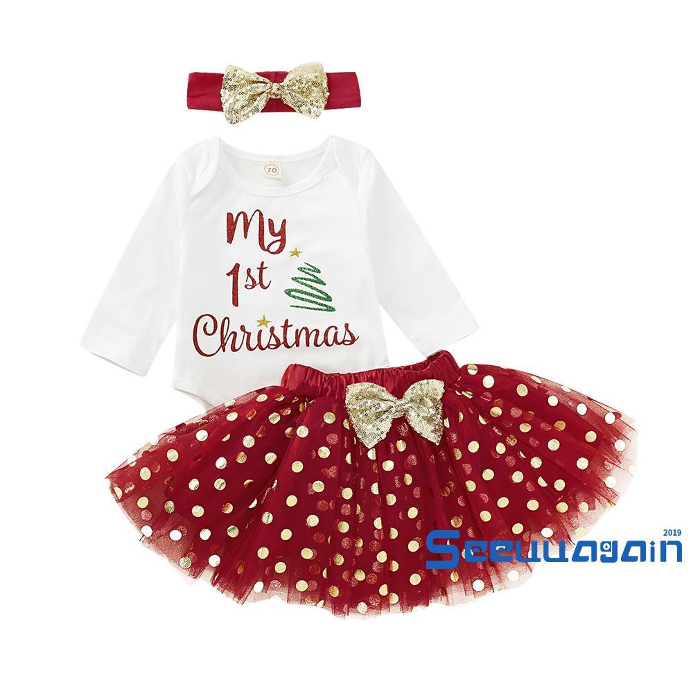 Set áo liền thân tay dài kèm chân váy phong cách Giáng sinh cho bé gái