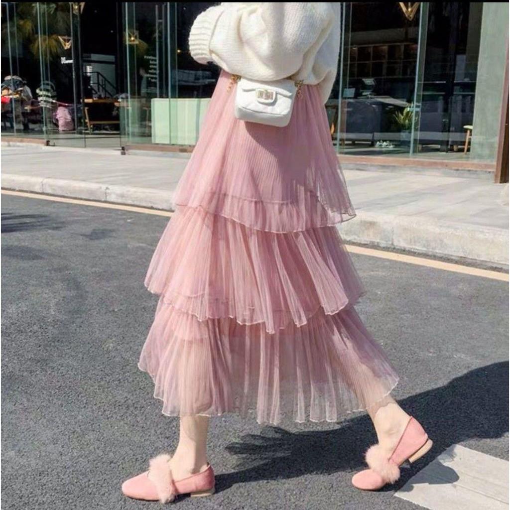 12C22B1 Chân váy tulle công chúa 3 tầng siêu siêu đẹp, lưng thun freesize, vải tuyn cao cấp đẹp y hình