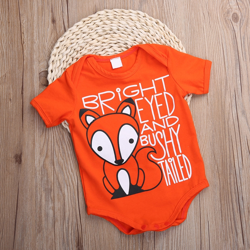 Hình ảnh Newborn Infant Boy Girl Fox Pattern Bodysuit Romper Jumpsuit Clothes Outfits Pj