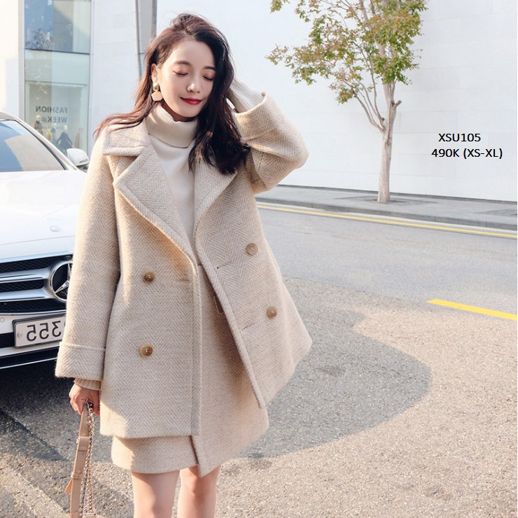 XSU105 Set quần váy áo khoác dạ