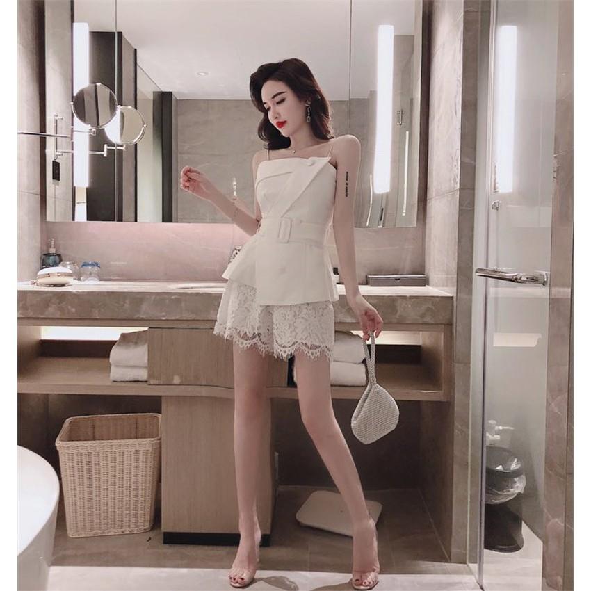 Set áo hai dây + quần ngắn ren phong cách sang trọng trẻ trung chất đẹp