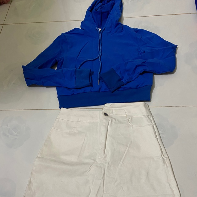 {Xã kho} Set áo nỉ hoodie+ chân váy trắng, new 100%, hình thật