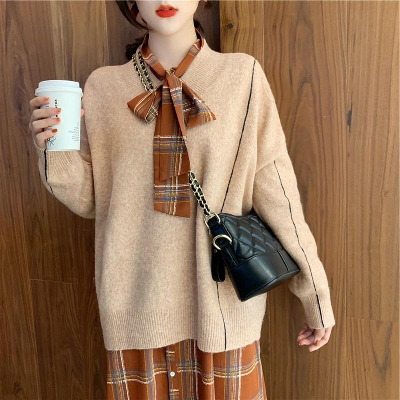 Bộ Áo Sweater Dài Tay + Chân Váy Ca Rô Xinh Xắn Theo Phong Cách Retro Hàn Quốc Dành Cho Nữ