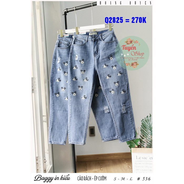 Quần jean baggy in mickey