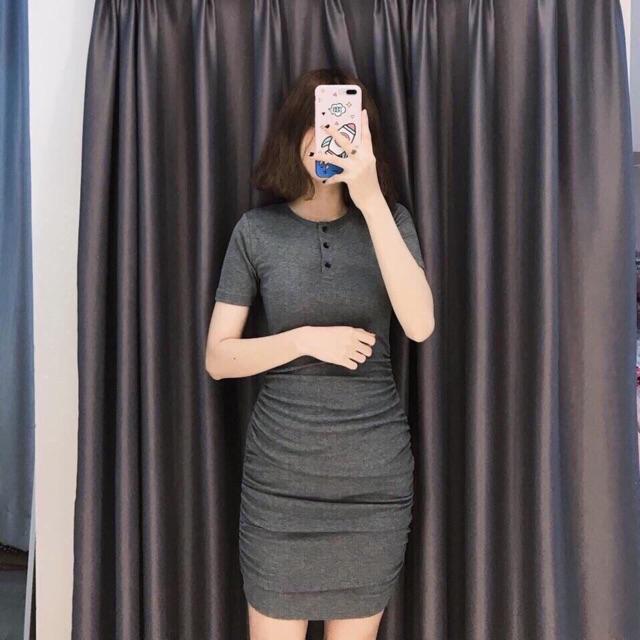 Đầm body nhún eo cổ tròn (có clip, ảnh cận vải)