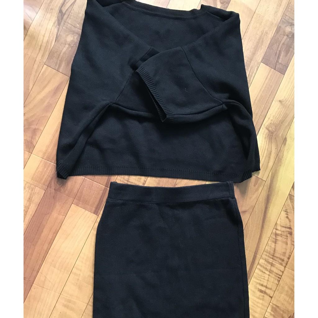 Set áo và chân váy len đen