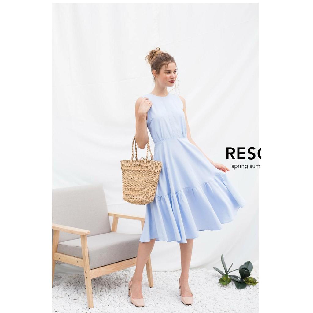 Đầm maxi sọc xanh STin