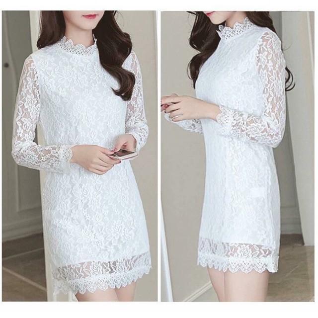 Đầm suông ren trắng tay dài