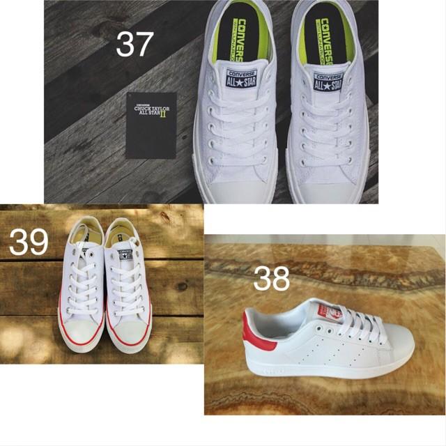 Combo 3 đôi giày CV Chuck 2 thấp trắng 37 + CV Classic thấp trắng 39 + Stansmith gót đỏ 38