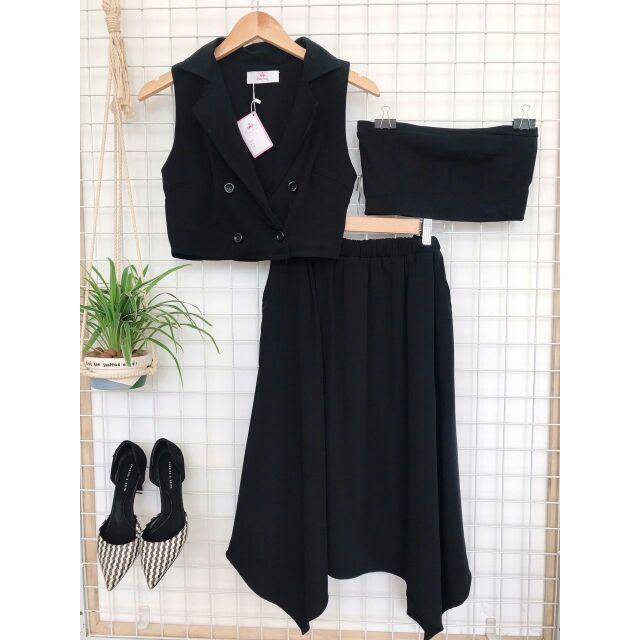 Combo Set chân váy + áo vest+ áo ống (hình thật)
