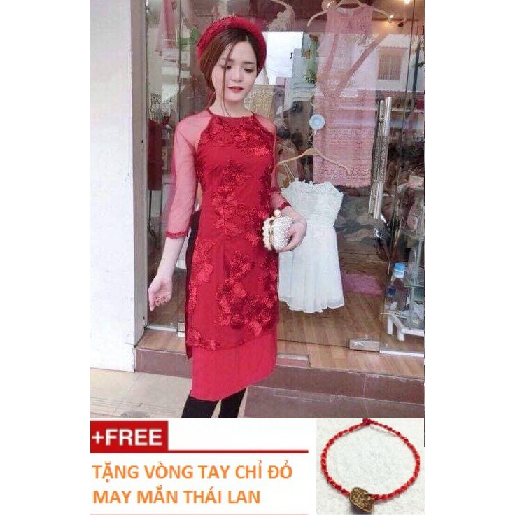 [Xinh xắn, dịu dàng] Áo dài cách tân hoa ánh vàng (ảnh thật) - mặc lên đẹp lắm ạ - tặng vòng tay chỉ đỏ may mắn Thái Lan