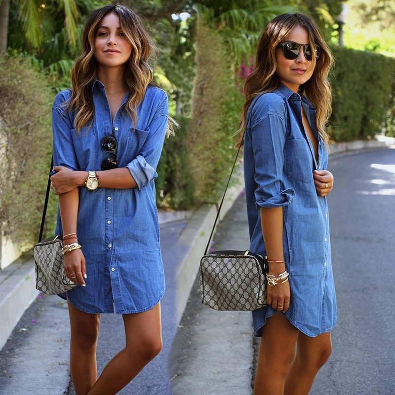 Đầm jean dài tay phong cách năng động trẻ trung dành cho nữ