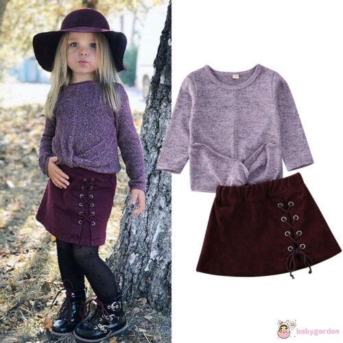 Set áo len tay dài phối chân váy xòe dễ thương cho bé gái