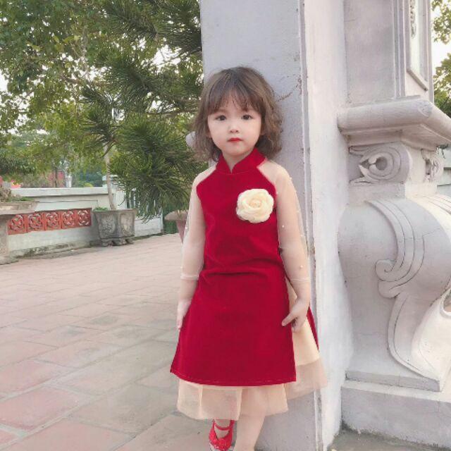 Set áo dài cách tân nhung cho bé gái
