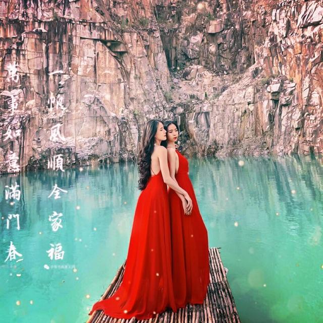 Đầm maxi cổ yếm- đầm đi biển, chụp ảnh kèm ảnh thật viedeo