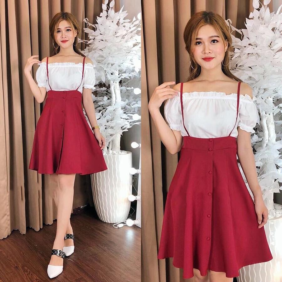 Set áo bánh bèo trễ vai kèm chân váy đỏ 2b3