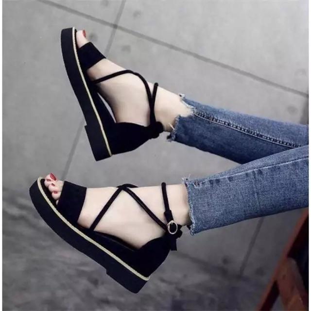 Sandal nữ độn đế dây chéo 5 phân