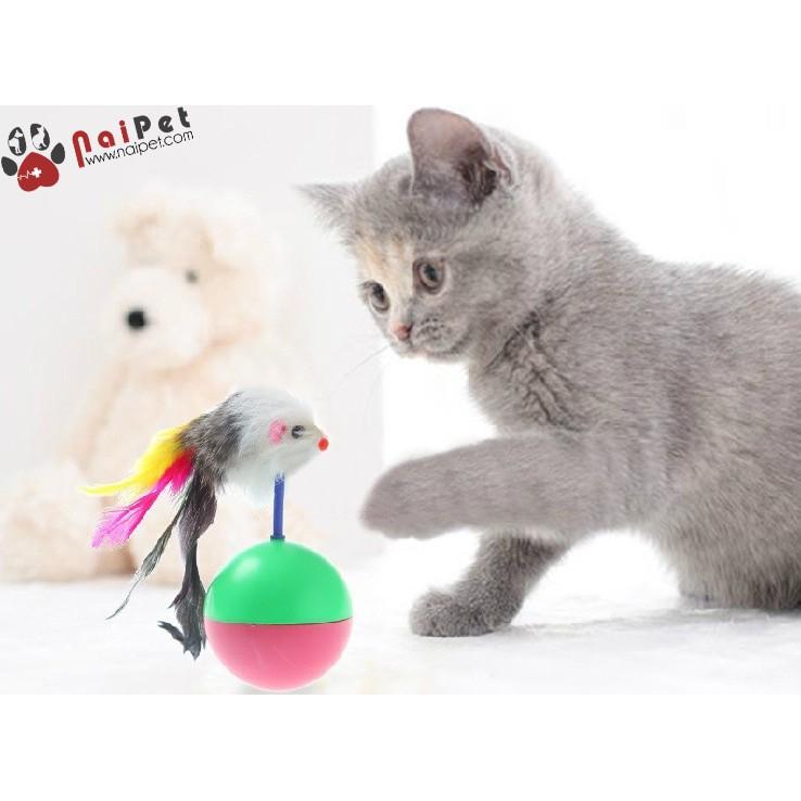 [Mã PETMSPS18 hoàn 8% xu đơn 199K] Đồ Chơi Bóng Chuột Lông Lật Đật Cho Mèo