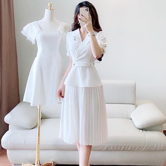 ẢNH THẬT, đầm váy cổ vét liền chân váy xếp ly sang chảnh, trẻ trung, chất liệu cao cấp, váy thiết kế DVC