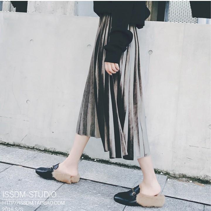 Chân váy xếp ly dài, chân váy len Quảng Châu❤️Tặng Quà VIP❤️Ưu Đãi Lớn-Hôm Nay - Đẹp, Phong cách trẻ trung,sang trọng