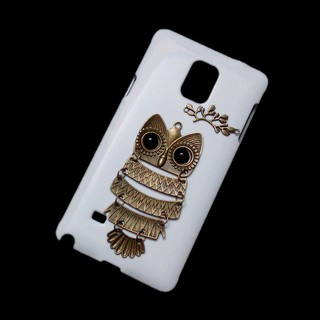Cute Retro Metal Owl Branch Leaves Back Hard Case Cover for Samsung Galaxy Note 4