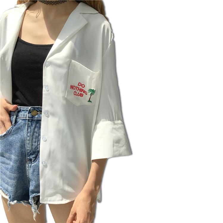 áo khoác hàn quốc dáng rộng thêu hình thời trang cho nữ