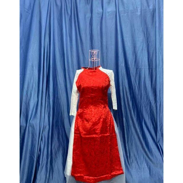 Sale size S - set áo dài cách tân gấm phối ren kèm chân váy phi