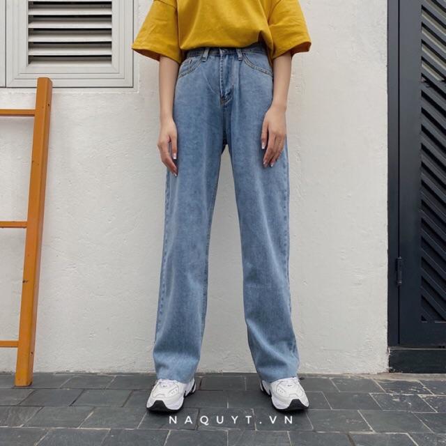 Quần jeans suông gấu tua rua New S - Q0335