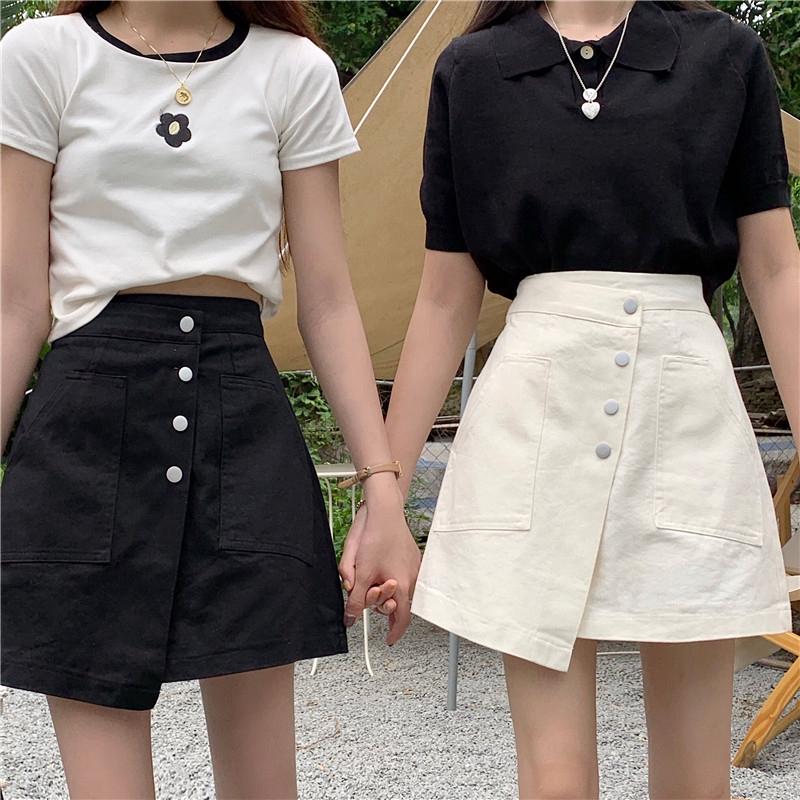 Chân Váy Chữ A Lưng Cao Phối Hàng Nút Phong Cách Hàn Quốc