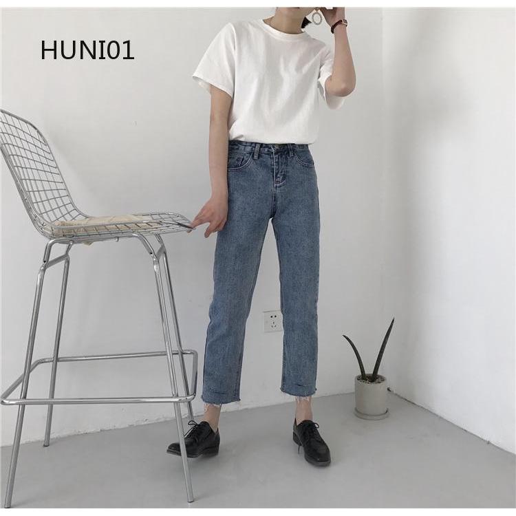 Quần jeans nữ lưng cao kiểu dáng thời trang phong cách Hàn Quốc