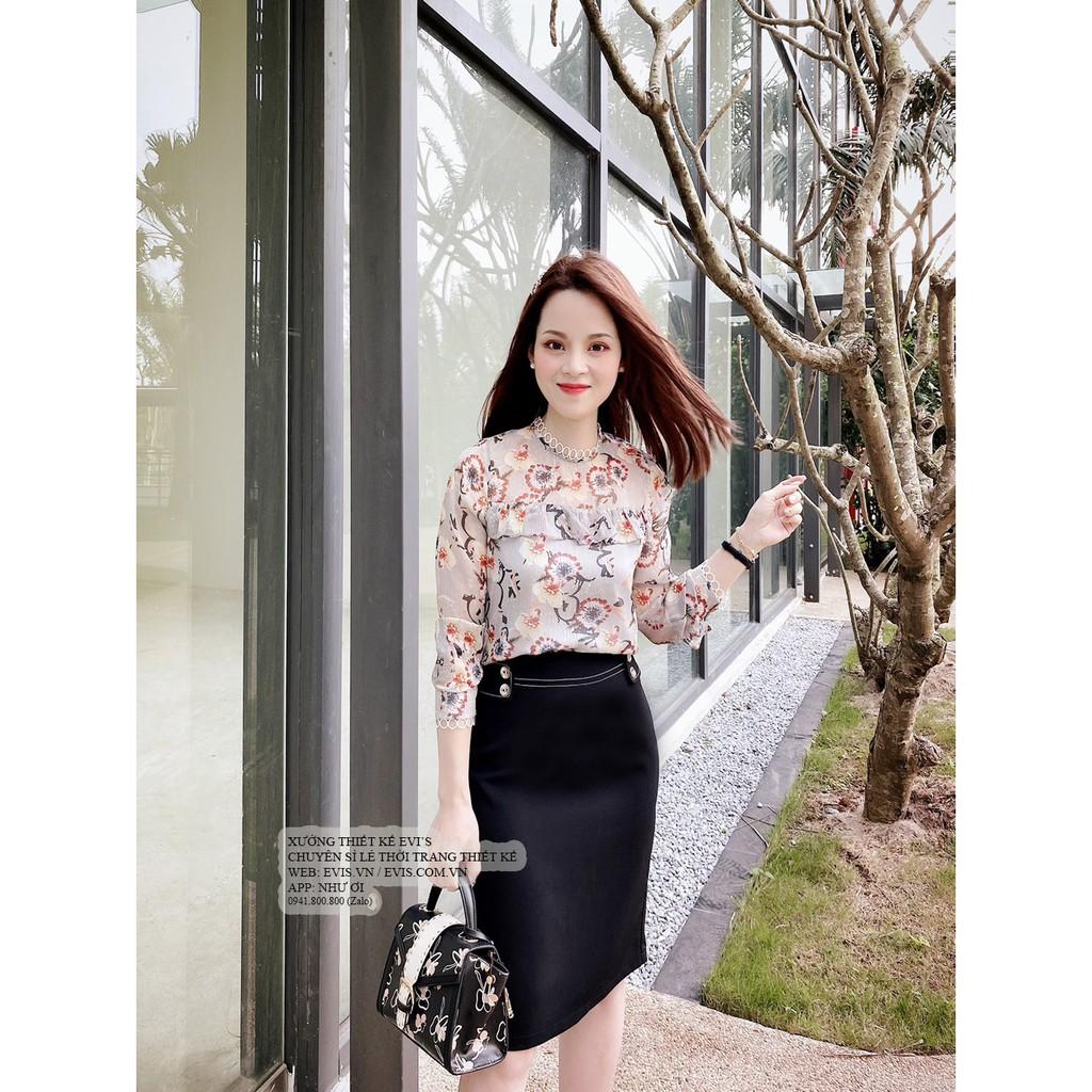 Sét áo hoa thiết kế bèo ngực tay viền ren tròn phối cùng chân váy đen viền chỉ trắng