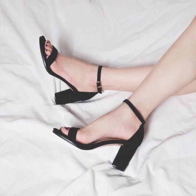 Sandal cao gót da lộn quai mảnh ẢNH THẬT