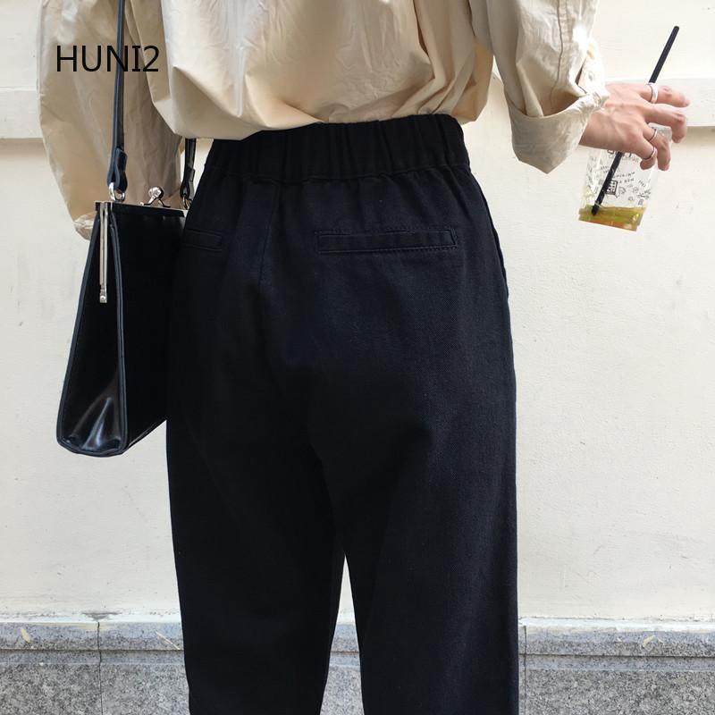 Quần jeans nữ lưng cao xẻ ống