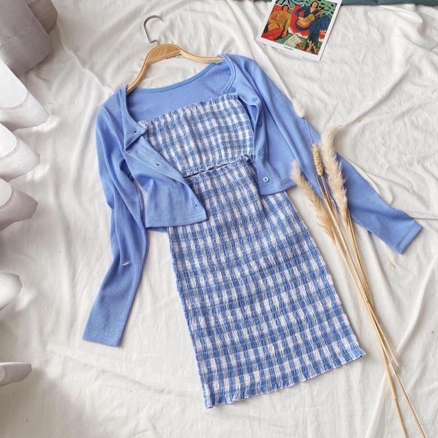 Set đầm caro xanh + khoác