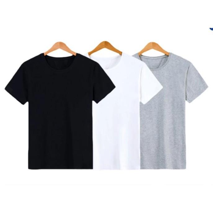 Combo 3 áo thun trơn trắng đen xám phong cách Basic vải dày mịn có size lớn