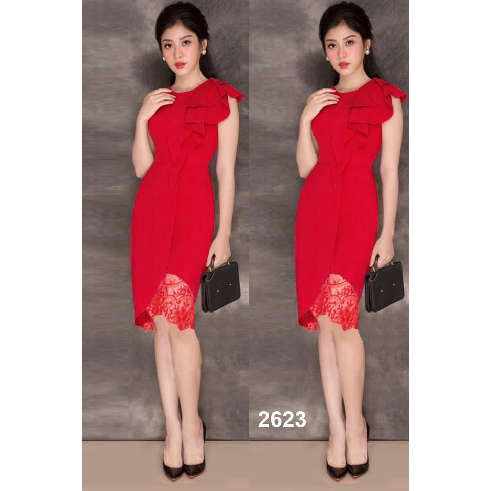 Đầm body đỏ chân phối ren 2623