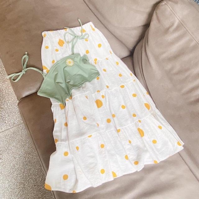 Set áo hoa + chân váy bi vàng