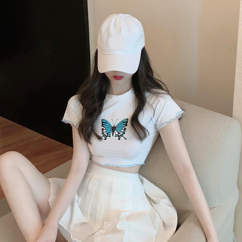 Set Áo Thun Ngắn Tay + Chân Váy Xếp Ly Lưng Cao Thời Trang Cho Nữ