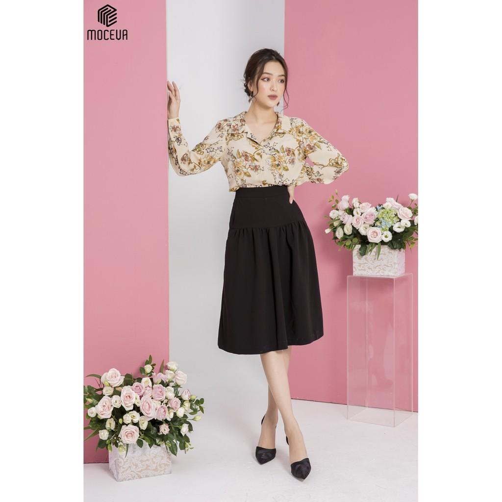 MOCEVA - Áo sơ mi hoa kết hợp chân váy đen sang trọng - Set đồ độc quyền thương hiệu Mộc Eva