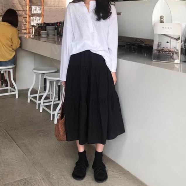 >> [SIÊU RẺ] Chân váy von nữ xòe 3 tầng vintage trắng đen (Sỉ từ 5sp bất kỳ)