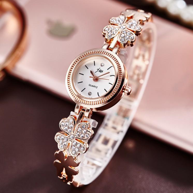 [Mã WTCHJAN giảm 20K ] Đồng hồ nữ JW dây lắc hình cỏ 4 lá đính đá thời trang SP233 (Nhiều màu)