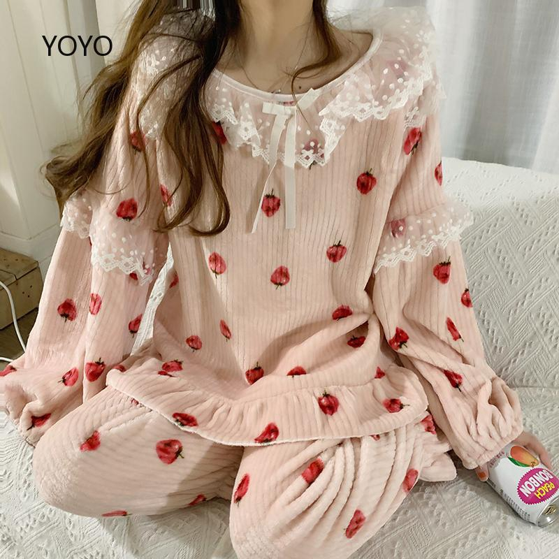 sweet Long Sleeve Sleepwear Set lady Women Sexy Silk Satin Pajamas baju kurung moden Set Long Sleeve Sleepwear in stoc