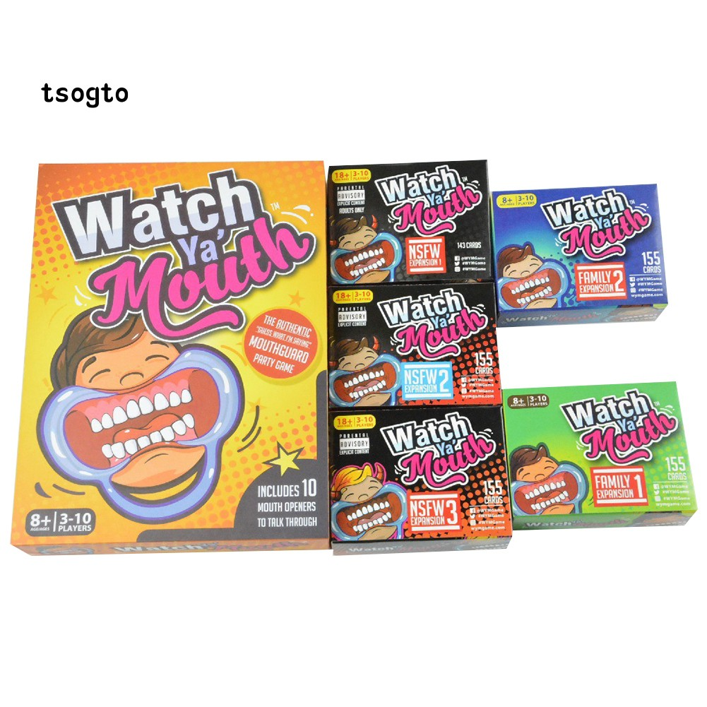 Tsogto Watch Ya Mouth Speak Out Paper Cards Mouthpiece Board Game Family Party Prop