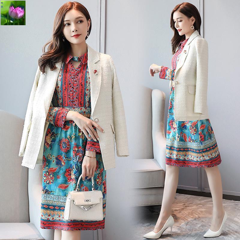 Bộ Áo Khoác In Họa Tiết + Chân Váy Xinh Xắn Theo Phong Cách Mùa Thu Hàn Quốc 2019