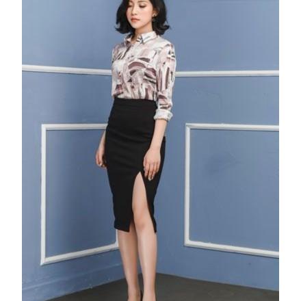 [Freeship] Chân váy bút chì xẻ trước Umi Hàn cao cấp dài 60cm (đen, xám, xanh cô ban)