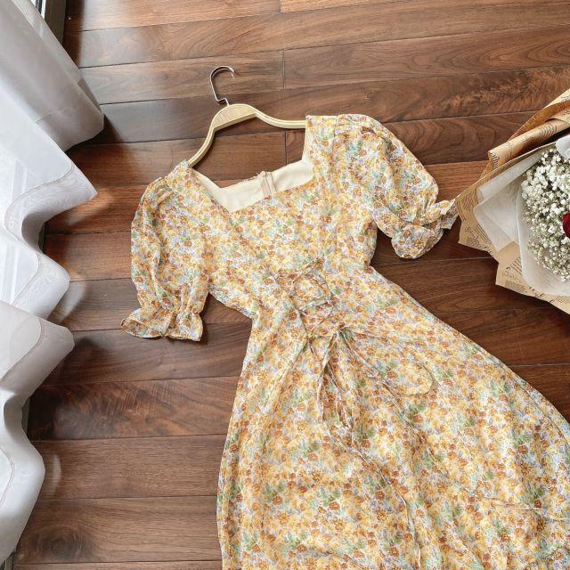 [Nhập mã MAIH345K giảm ngay 15k-đơn 345k] Đầm hoa vàng đan eo chân bèo - đầm maxi hoa nhí cổ vuông