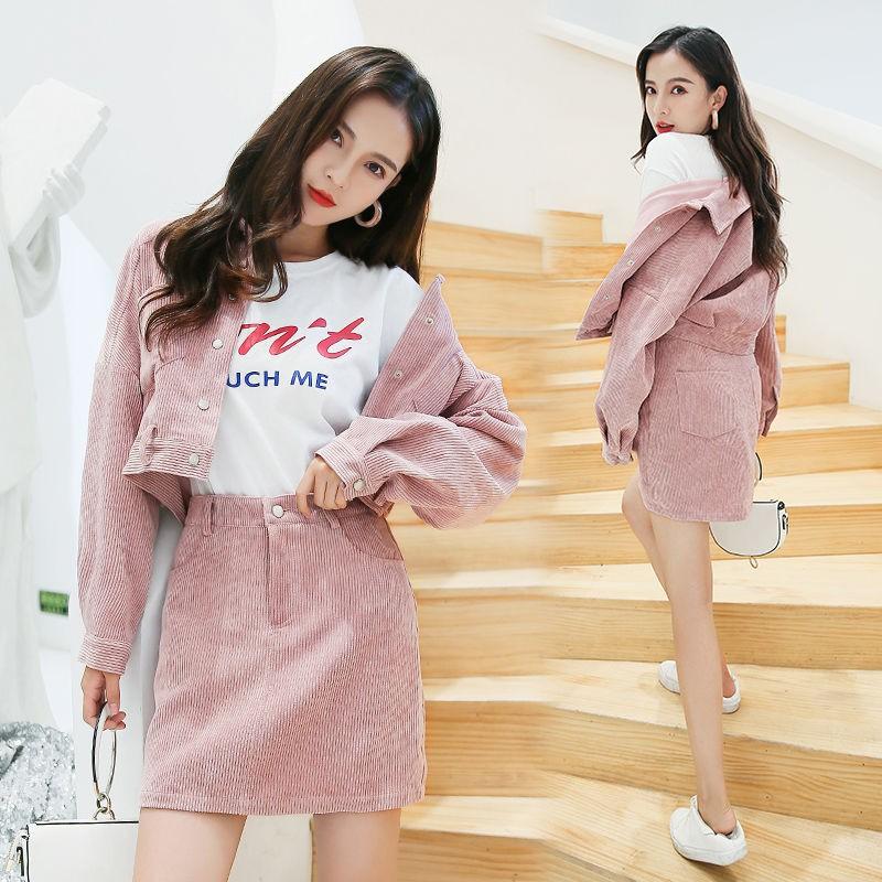 Bộ Áo Khoác Ngắn + Chân Váy Xinh Xắn Dành Cho Nữ 202020