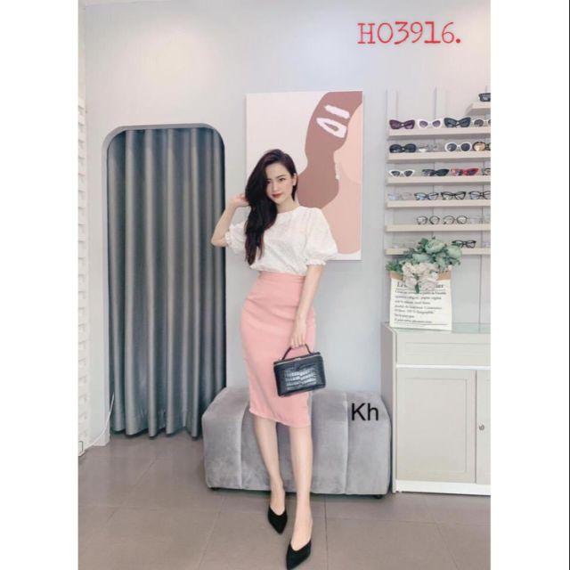 Set áo thô thêu hoa x chân váy hồng