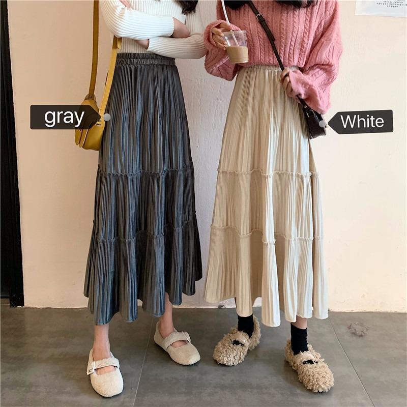 Chân Váy Nhung Xếp Ly Phong Cách Hàn Quốc 2020 Xinh Xắn Cho Nữ
